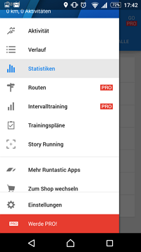 Funktionen Runtastic Fitness App